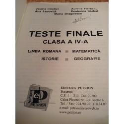 Valeria Cristici - Teste finale clasa a IV a Limba romana - Matematica - Istorie - Geografie